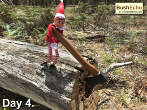 Elf on the Shelf with hatchet