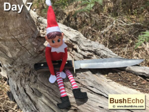Elf on the Shelf with Old Timer Bowie Knife