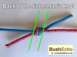Tying fishermans knot